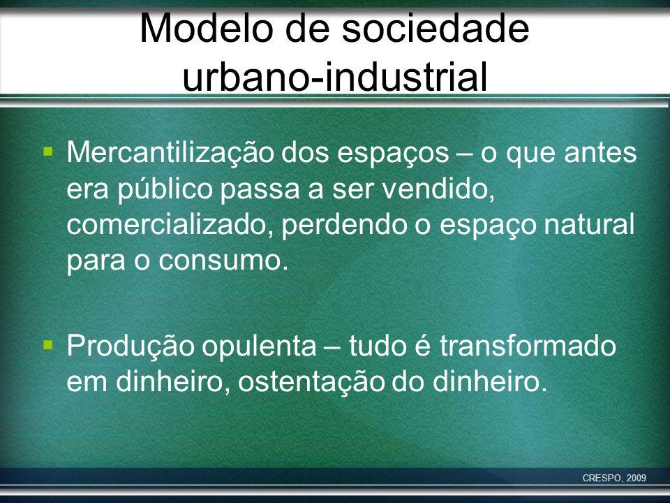 Modelo de sociedade urbano-industrial Mercantilização dos espaços – o que antes era público passa a ser vendido, comercializado, perdendo o espaço nat