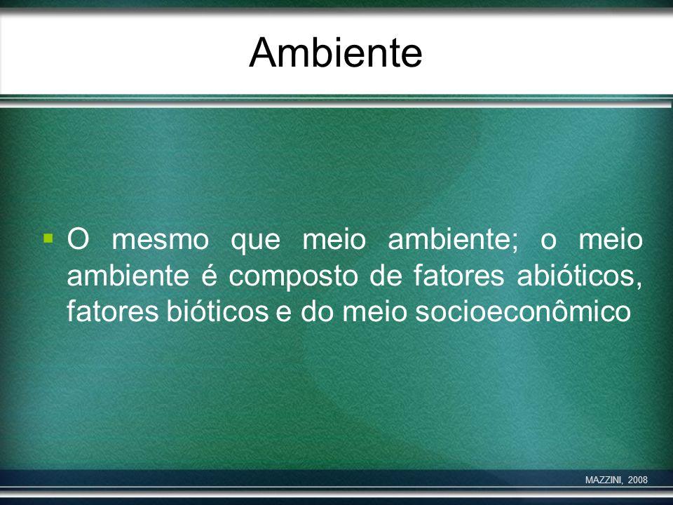 Ambiente O mesmo que meio ambiente; o meio ambiente é composto de fatores abióticos, fatores bióticos e do meio socioeconômico MAZZINI, 2008