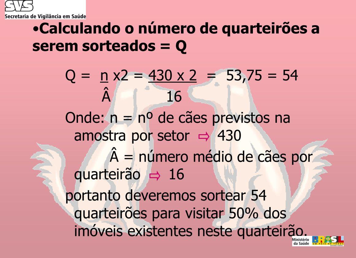 Calculando o número de quarteirões a serem sorteados = Q Q = n x2 = 430 x 2 = 53,75 = 54 Â 16 Onde: n = nº de cães previstos na amostra por setor 430