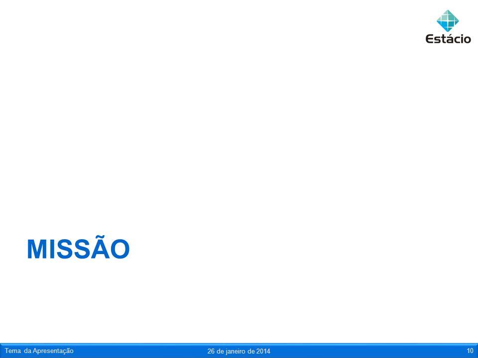 MISSÃO 26 de janeiro de 2014 Tema da Apresentação10