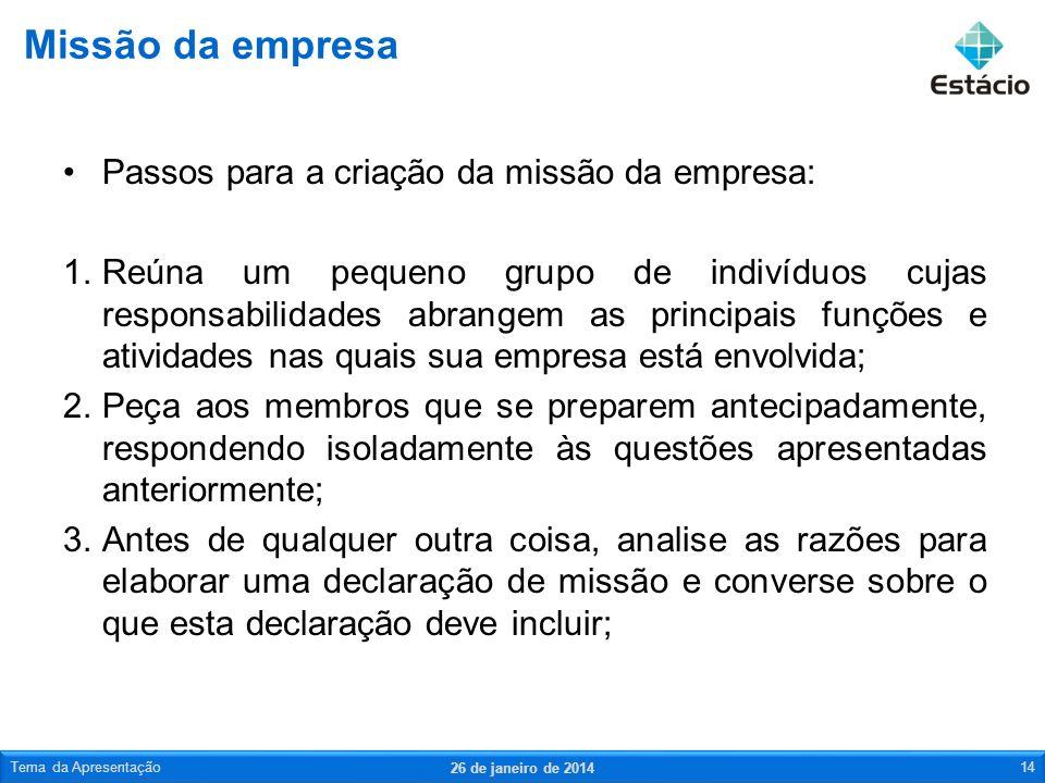 Passos para a criação da missão da empresa: 1.Reúna um pequeno grupo de indivíduos cujas responsabilidades abrangem as principais funções e atividades