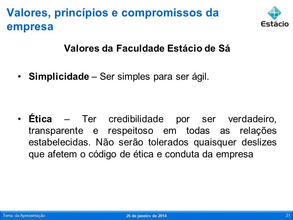 Valores da Faculdade Estácio de Sá Simplicidade – Ser simples para ser ágil. Ética – Ter credibilidade por ser verdadeiro, transparente e respeitoso e