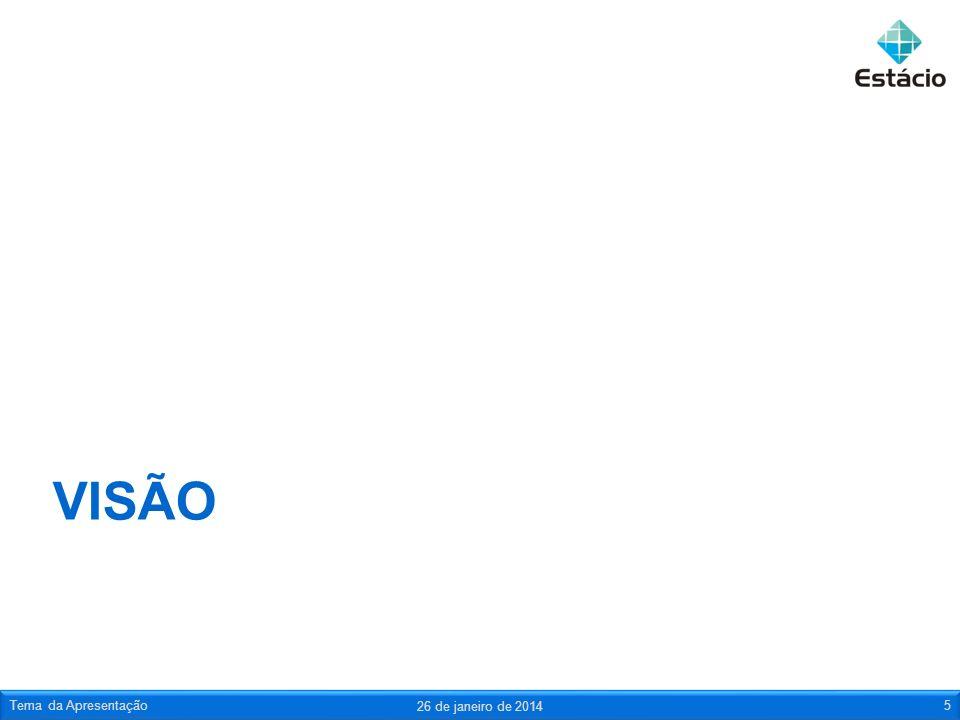 VISÃO 26 de janeiro de 2014 Tema da Apresentação5