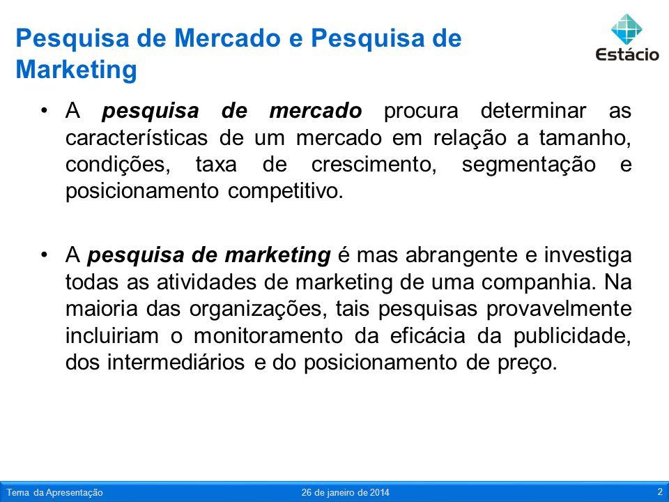 Pesquisa de Mercado e Pesquisa de Marketing A pesquisa de mercado procura determinar as características de um mercado em relação a tamanho, condições, taxa de crescimento, segmentação e posicionamento competitivo.