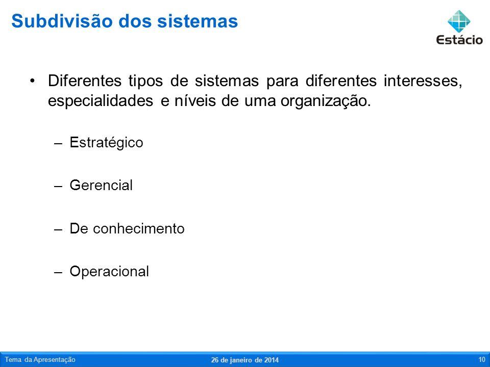 Diferentes tipos de sistemas para diferentes interesses, especialidades e níveis de uma organização.