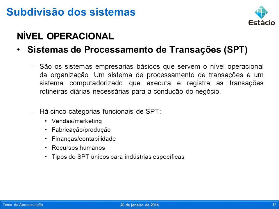 NÍVEL OPERACIONAL Sistemas de Processamento de Transações (SPT) –São os sistemas empresarias básicos que servem o nível operacional da organização.