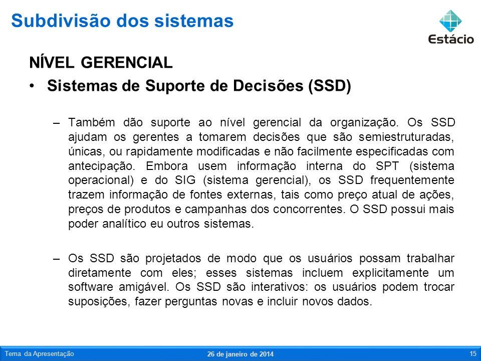 NÍVEL GERENCIAL Sistemas de Suporte de Decisões (SSD) –Também dão suporte ao nível gerencial da organização.