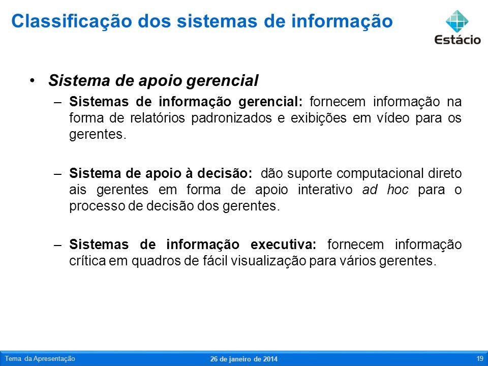 Sistema de apoio gerencial –Sistemas de informação gerencial: fornecem informação na forma de relatórios padronizados e exibições em vídeo para os gerentes.