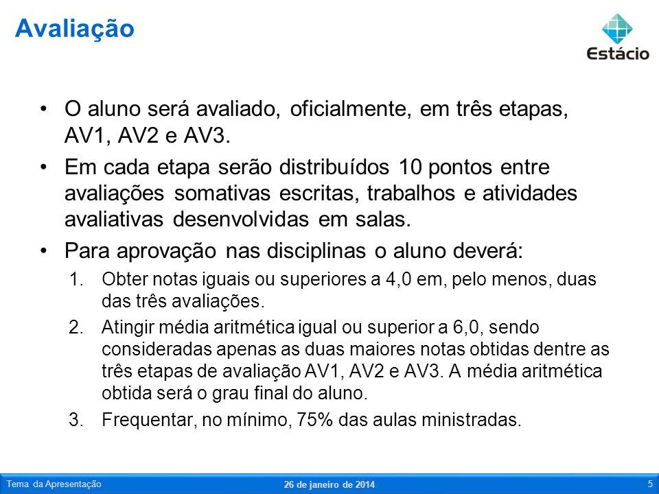 AV1 – 03 de maio –Atividades avaliativas – 3,0 pontos –Prova – 7 pontos AV2 – 14 de junho –Atividades avaliativas – 1,0 ponto –Trabalho – 3,0 pontos –Prova – 6,0 pontos AV3 – 28 de junho –Prova – 10,0 pontos Avaliação – datas 26 de janeiro de 2014 Tema da Apresentação6
