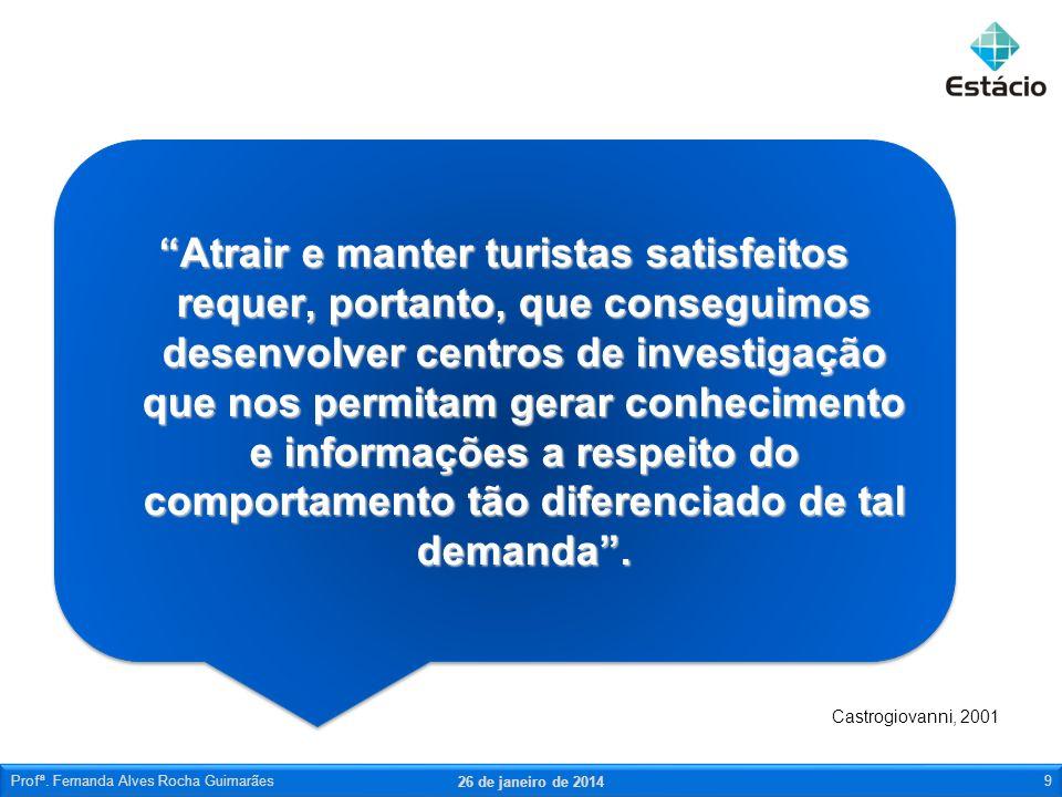 26 de janeiro de 2014 Profª. Fernanda Alves Rocha Guimarães9 Atrair e manter turistas satisfeitos requer, portanto, que conseguimos desenvolver centro