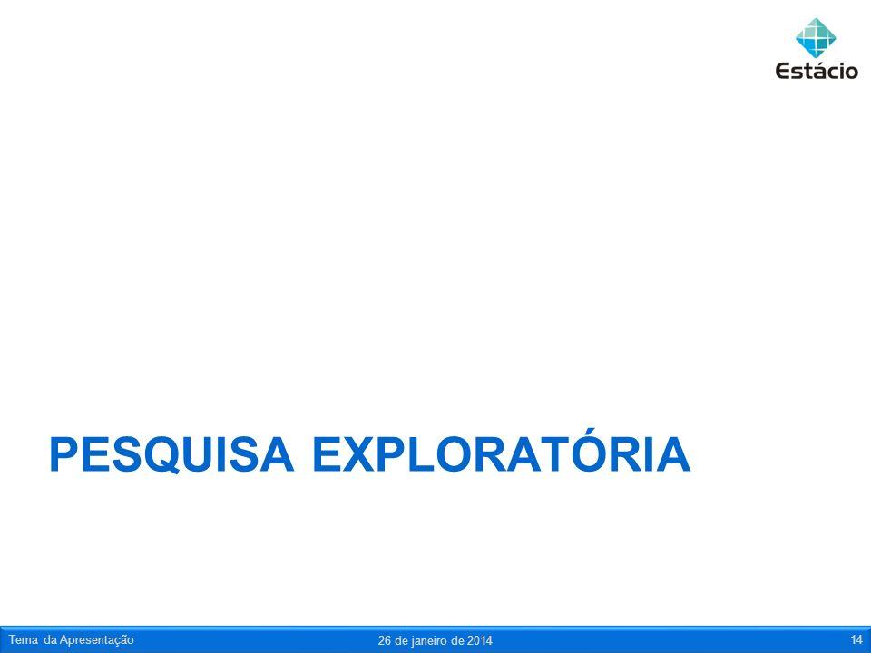PESQUISA EXPLORATÓRIA 26 de janeiro de 2014 Tema da Apresentação14