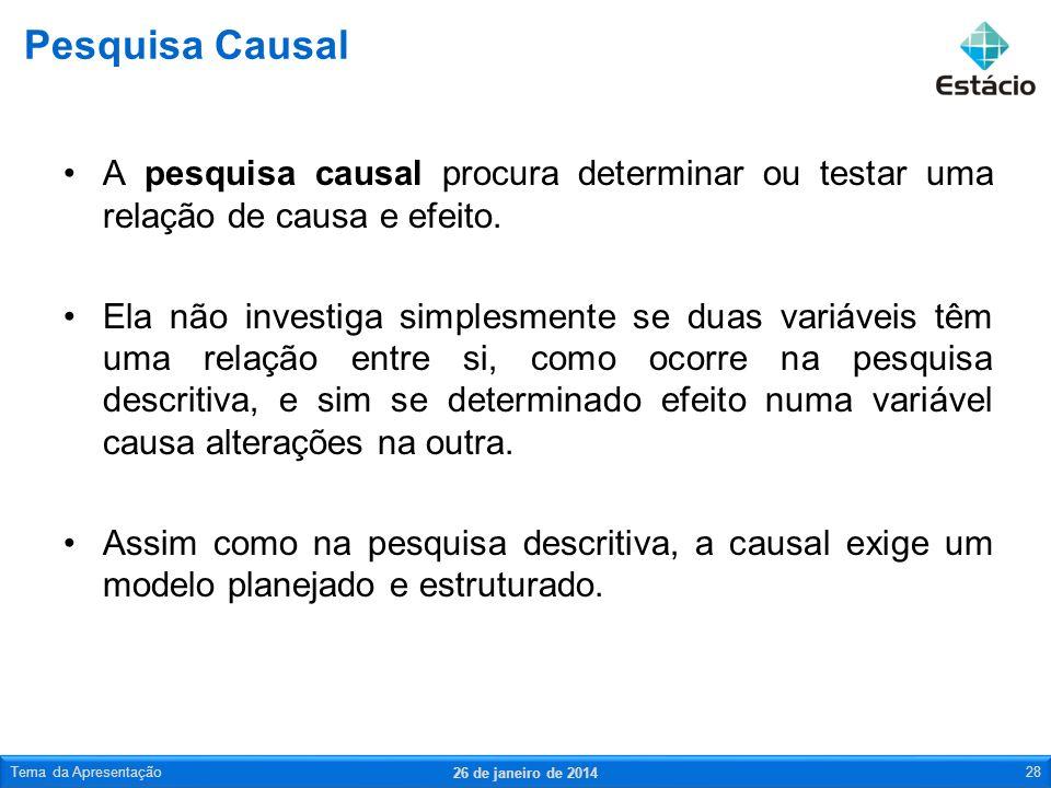 A pesquisa causal procura determinar ou testar uma relação de causa e efeito. Ela não investiga simplesmente se duas variáveis têm uma relação entre s