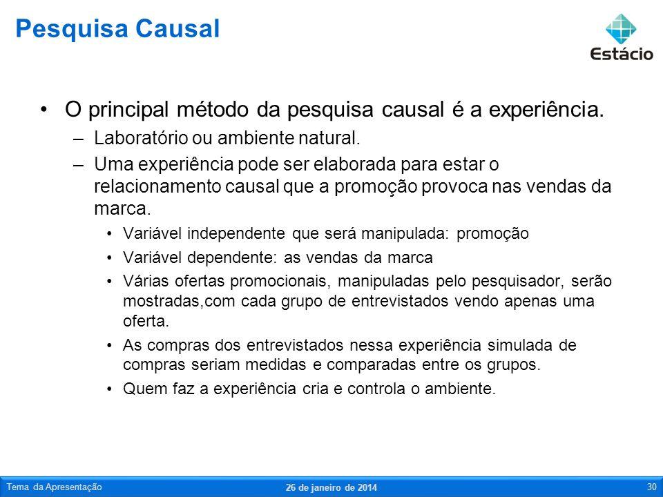 O principal método da pesquisa causal é a experiência. –Laboratório ou ambiente natural. –Uma experiência pode ser elaborada para estar o relacionamen