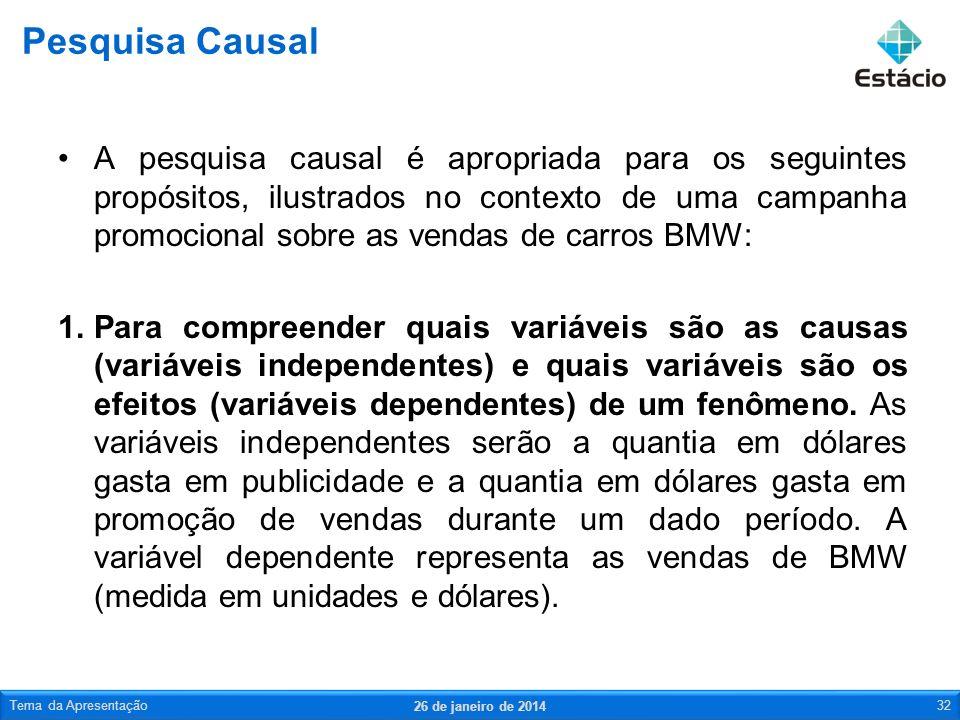 A pesquisa causal é apropriada para os seguintes propósitos, ilustrados no contexto de uma campanha promocional sobre as vendas de carros BMW: 1.Para