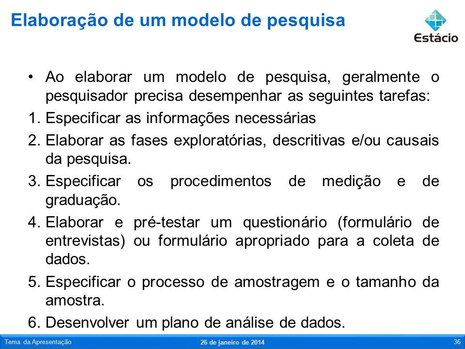 Ao elaborar um modelo de pesquisa, geralmente o pesquisador precisa desempenhar as seguintes tarefas: 1.Especificar as informações necessárias 2.Elabo