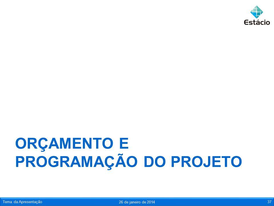 ORÇAMENTO E PROGRAMAÇÃO DO PROJETO 26 de janeiro de 2014 Tema da Apresentação37