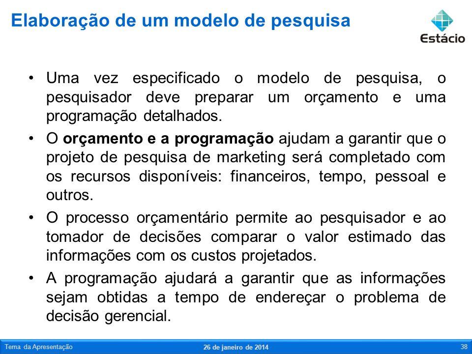 Uma vez especificado o modelo de pesquisa, o pesquisador deve preparar um orçamento e uma programação detalhados. O orçamento e a programação ajudam a