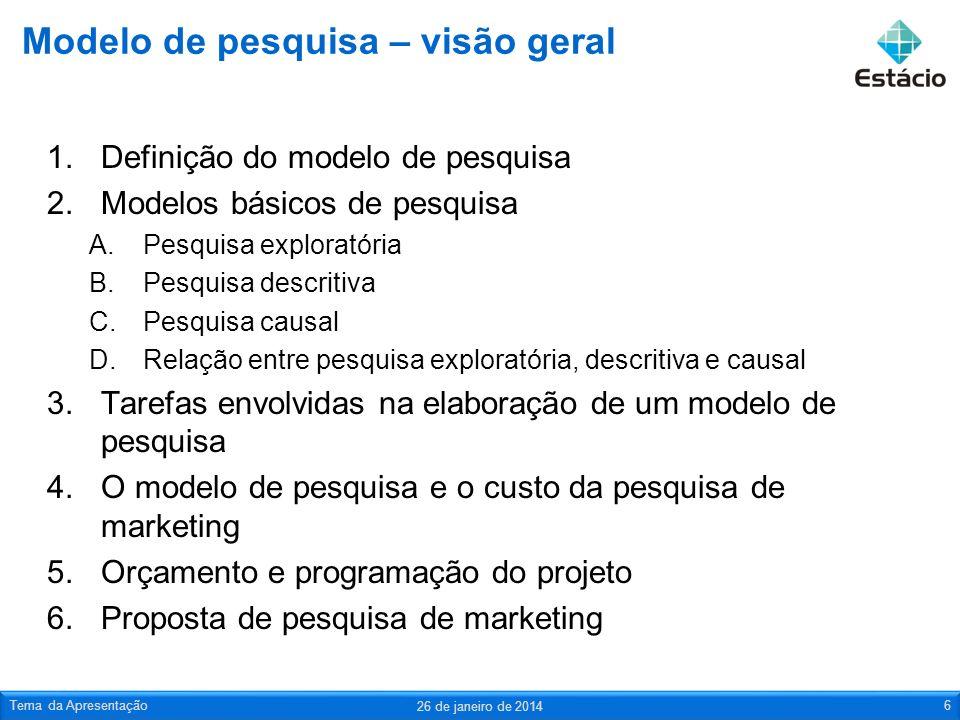 Modelo de pesquisa – visão geral 1.Definição do modelo de pesquisa 2.Modelos básicos de pesquisa A.Pesquisa exploratória B.Pesquisa descritiva C.Pesqu