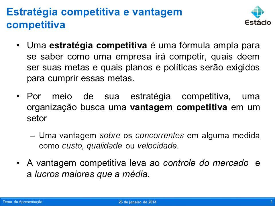 Uma estratégia competitiva é uma fórmula ampla para se saber como uma empresa irá competir, quais deem ser suas metas e quais planos e políticas serão