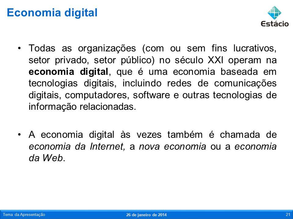 Todas as organizações (com ou sem fins lucrativos, setor privado, setor público) no século XXI operam na economia digital, que é uma economia baseada