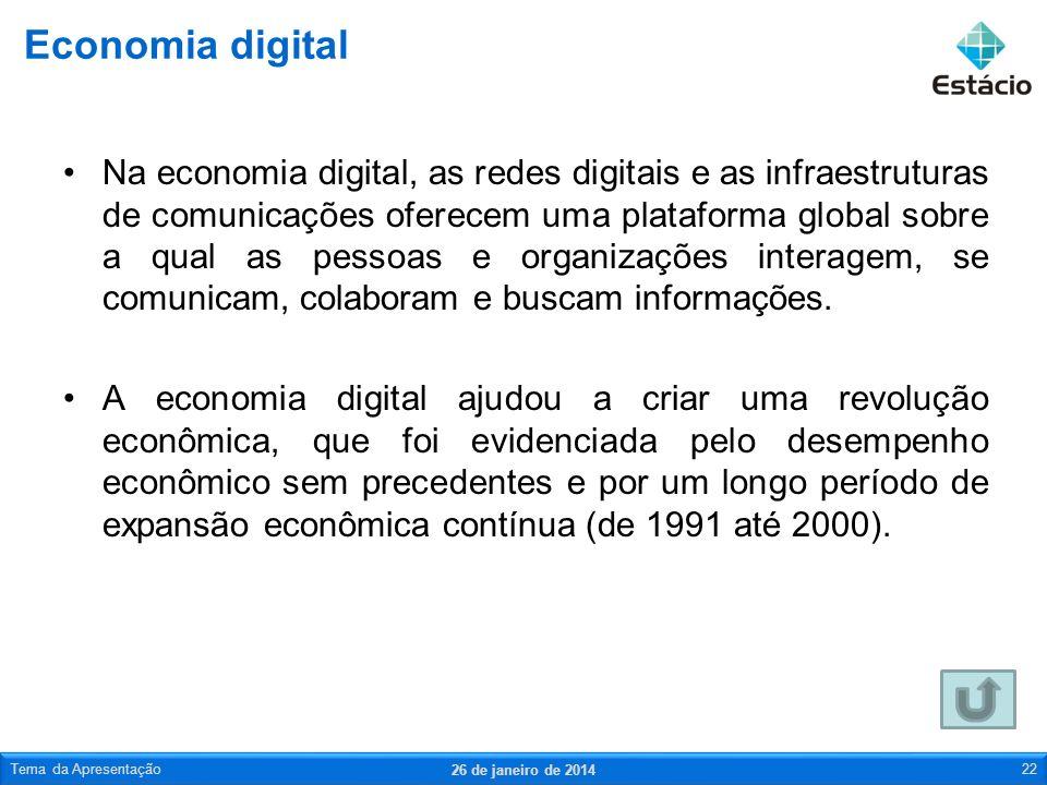 Na economia digital, as redes digitais e as infraestruturas de comunicações oferecem uma plataforma global sobre a qual as pessoas e organizações inte