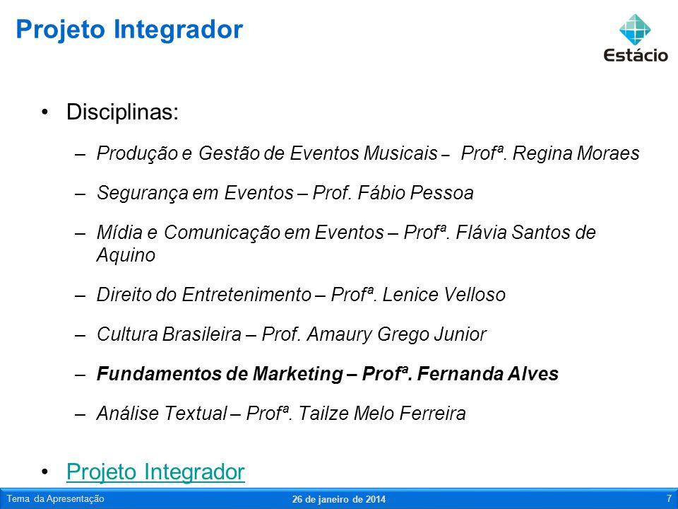 Disciplinas: –Produção e Gestão de Eventos Musicais – Profª. Regina Moraes –Segurança em Eventos – Prof. Fábio Pessoa –Mídia e Comunicação em Eventos