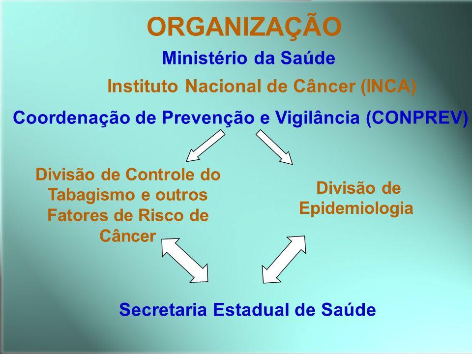 Secretaria Estadual de Saúde Divisão de Controle do Tabagismo e outros Fatores de Risco de Câncer Divisão de Epidemiologia ORGANIZAÇÃO Instituto Nacio