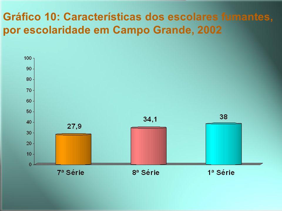 Gráfico 10: Características dos escolares fumantes, por escolaridade em Campo Grande, 2002