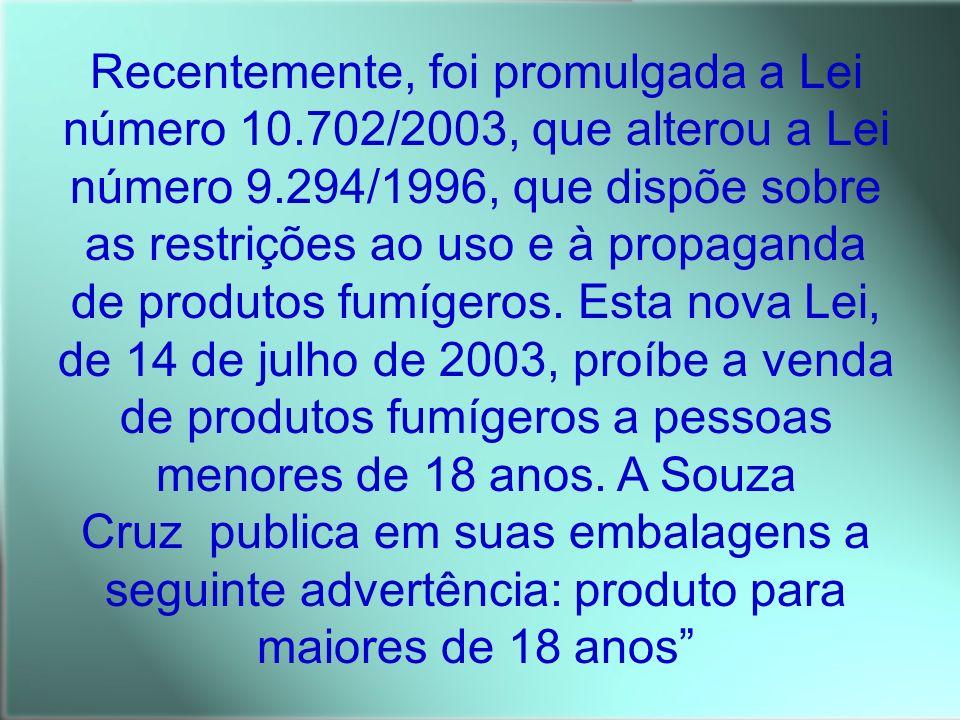 Recentemente, foi promulgada a Lei número 10.702/2003, que alterou a Lei número 9.294/1996, que dispõe sobre as restrições ao uso e à propaganda de pr