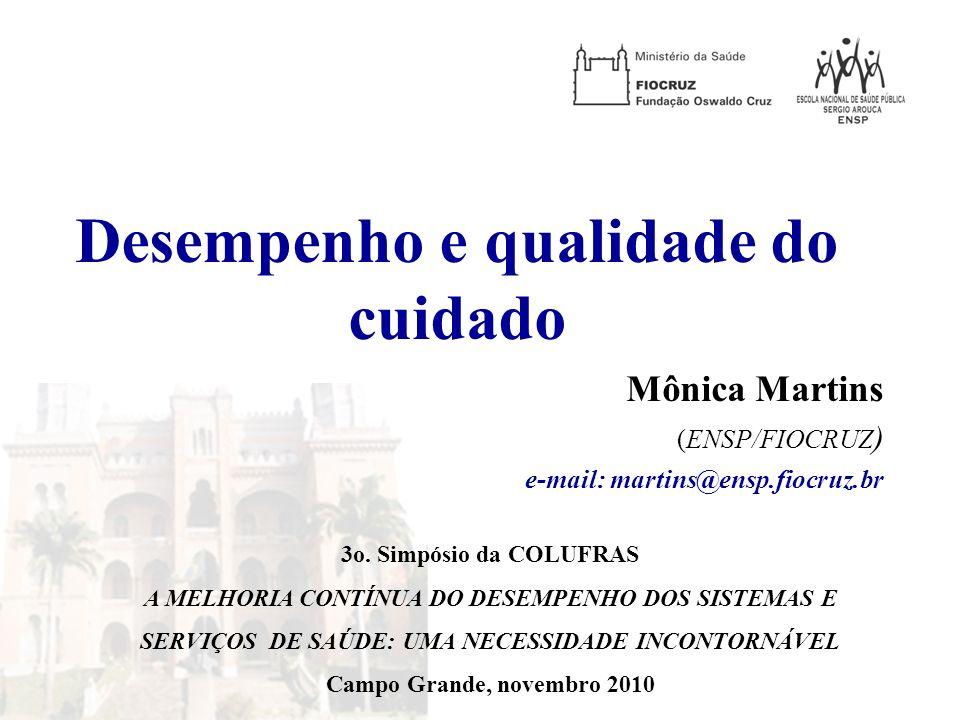 Desempenho e qualidade do cuidado Mônica Martins (ENSP/FIOCRUZ ) e-mail: martins@ensp.fiocruz.br 3o. Simpósio da COLUFRAS A MELHORIA CONTÍNUA DO DESEM