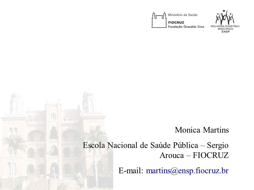 Monica Martins Escola Nacional de Saúde Pública – Sergio Arouca – FIOCRUZ E-mail: martins@ensp.fiocruz.br