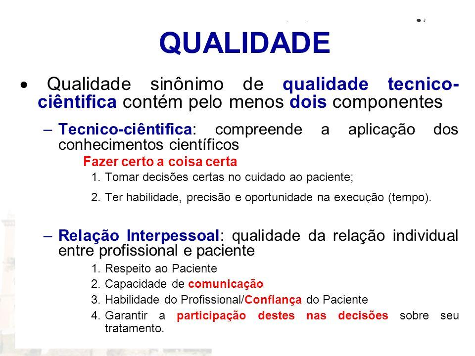 QUALIDADE Qualidade sinônimo de qualidade tecnico- ciêntifica contém pelo menos dois componentes –Tecnico-ciêntifica: compreende a aplicação dos conhe