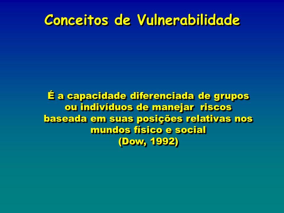 É a capacidade diferenciada de grupos ou indivíduos de manejar riscos baseada em suas posições relativas nos mundos físico e social (Dow, 1992) É a ca