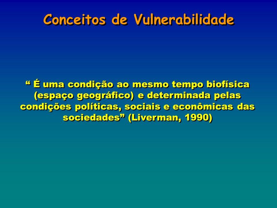 Conceitos de Vulnerabilidade É uma condição ao mesmo tempo biofísica (espaço geográfico) e determinada pelas condições políticas, sociais e econômicas