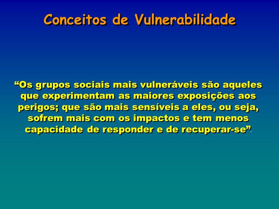 Conceitos de Vulnerabilidade Os grupos sociais mais vulneráveis são aqueles que experimentam as maiores exposições aos perigos; que são mais sensíveis