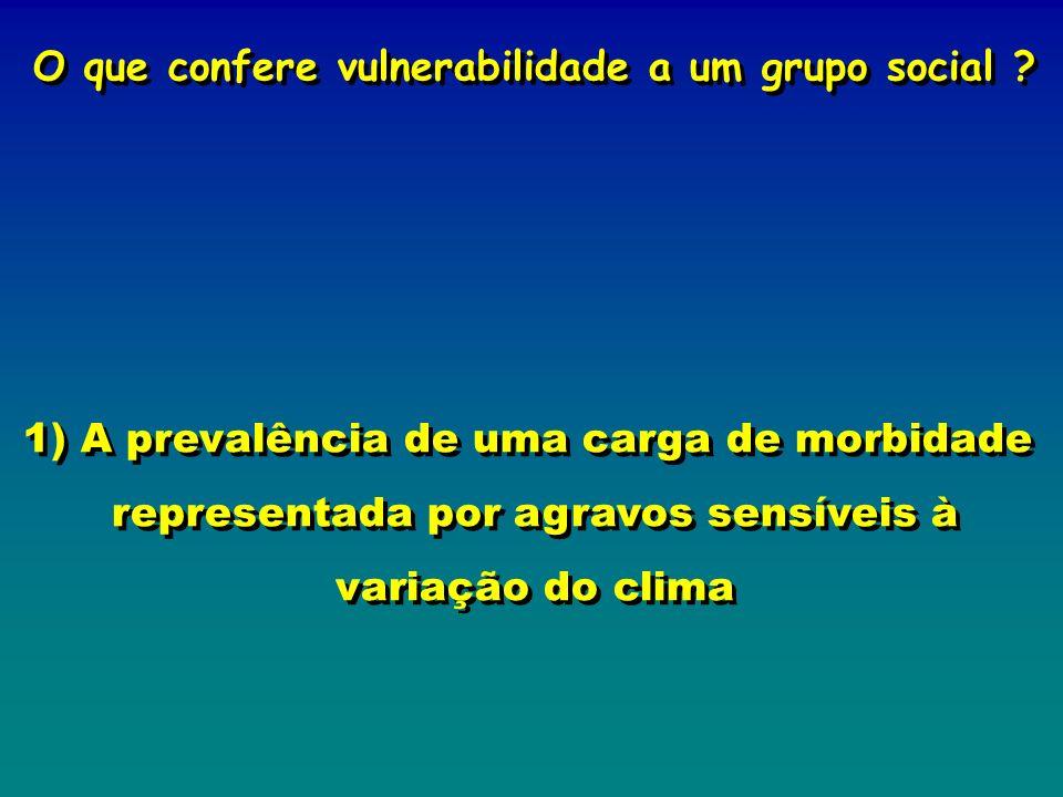 O que confere vulnerabilidade a um grupo social ? 1) A prevalência de uma carga de morbidade representada por agravos sensíveis à variação do clima O