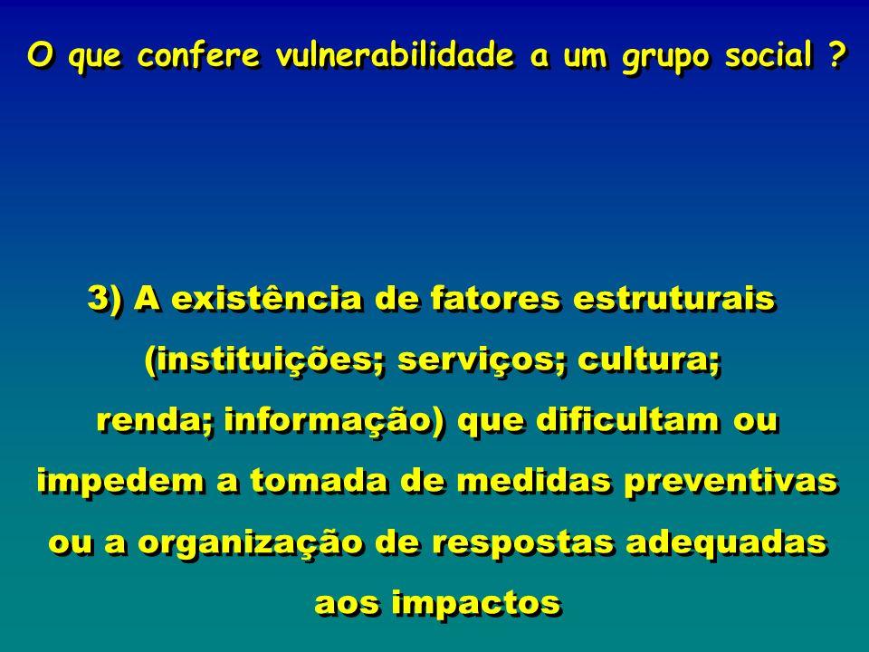 O que confere vulnerabilidade a um grupo social ? 3) A existência de fatores estruturais (instituições; serviços; cultura; renda; informação) que difi