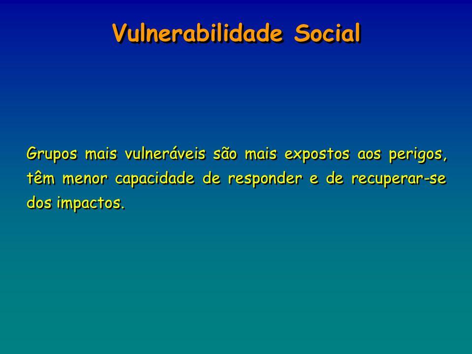 Grupos mais vulneráveis são mais expostos aos perigos, têm menor capacidade de responder e de recuperar-se dos impactos. Vulnerabilidade Social