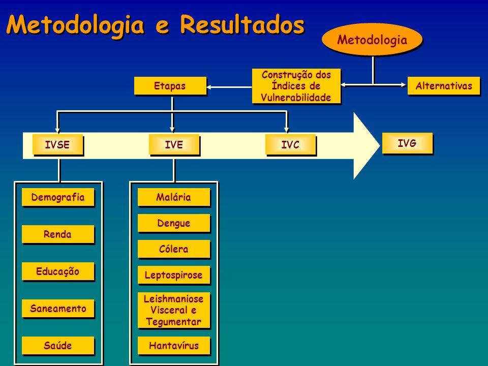 Etapas Metodologia IVSE IVE IVC Alternativas Construção dos Índices de Vulnerabilidade IVG Demografia Renda Educação Saúde Saneamento Leptospirose Cól