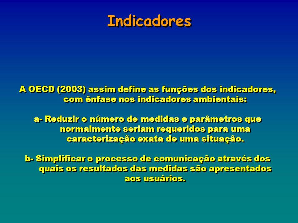 Indicadores A OECD (2003) assim define as funções dos indicadores, com ênfase nos indicadores ambientais: a- Reduzir o número de medidas e parâmetros