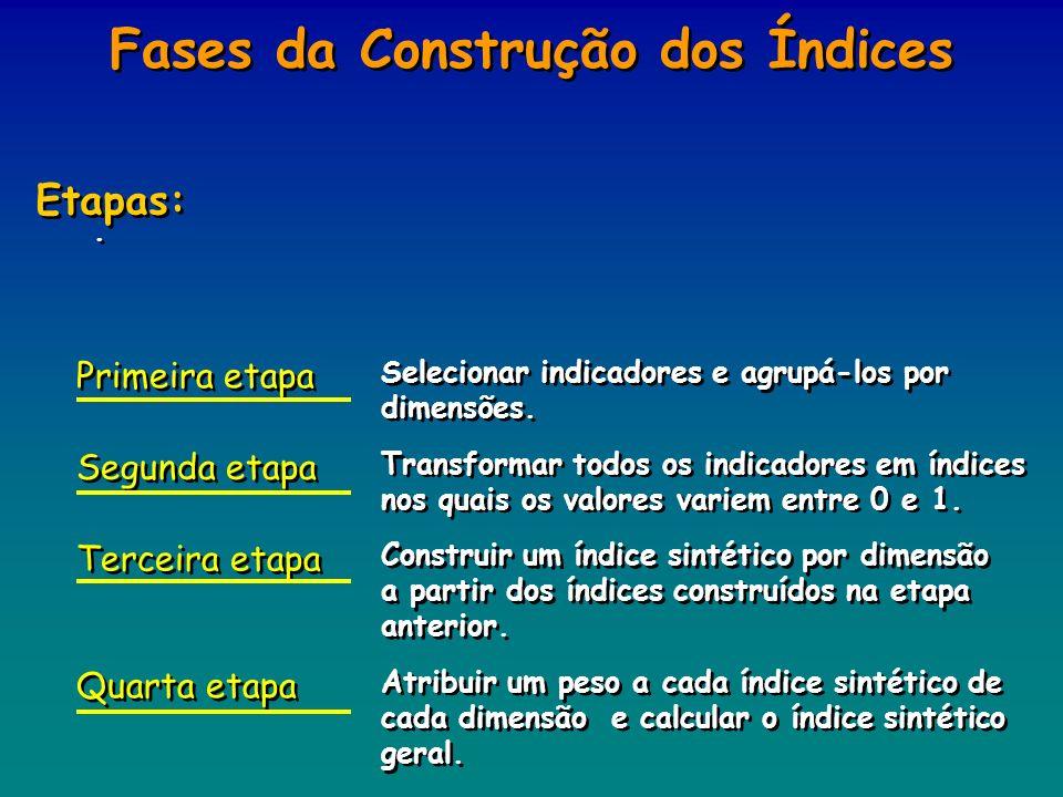 .. Fases da Construção dos Índices Etapas: Selecionar indicadores e agrupá-los por dimensões. Transformar todos os indicadores em índices nos quais os