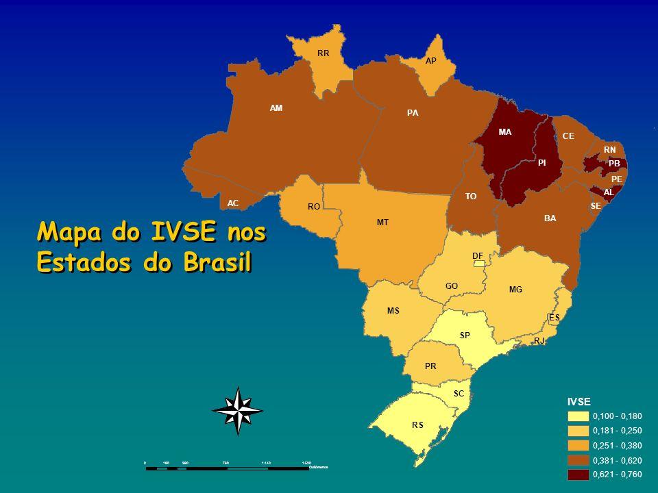 IVSE 0,100 - 0,180 0,181 - 0,250 0,251 - 0,380 0,381 - 0,620 0,621 - 0,760 03807601.1401.520190 Quilômetros Mapa do IVSE nos Estados do Brasil