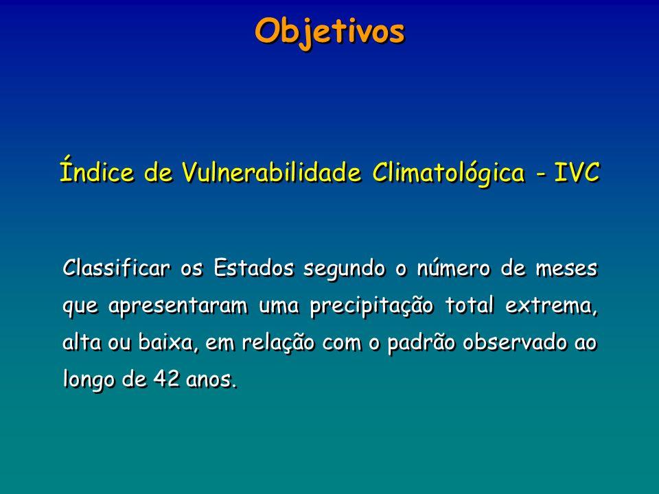 Objetivos Classificar os Estados segundo o número de meses que apresentaram uma precipitação total extrema, alta ou baixa, em relação com o padrão obs