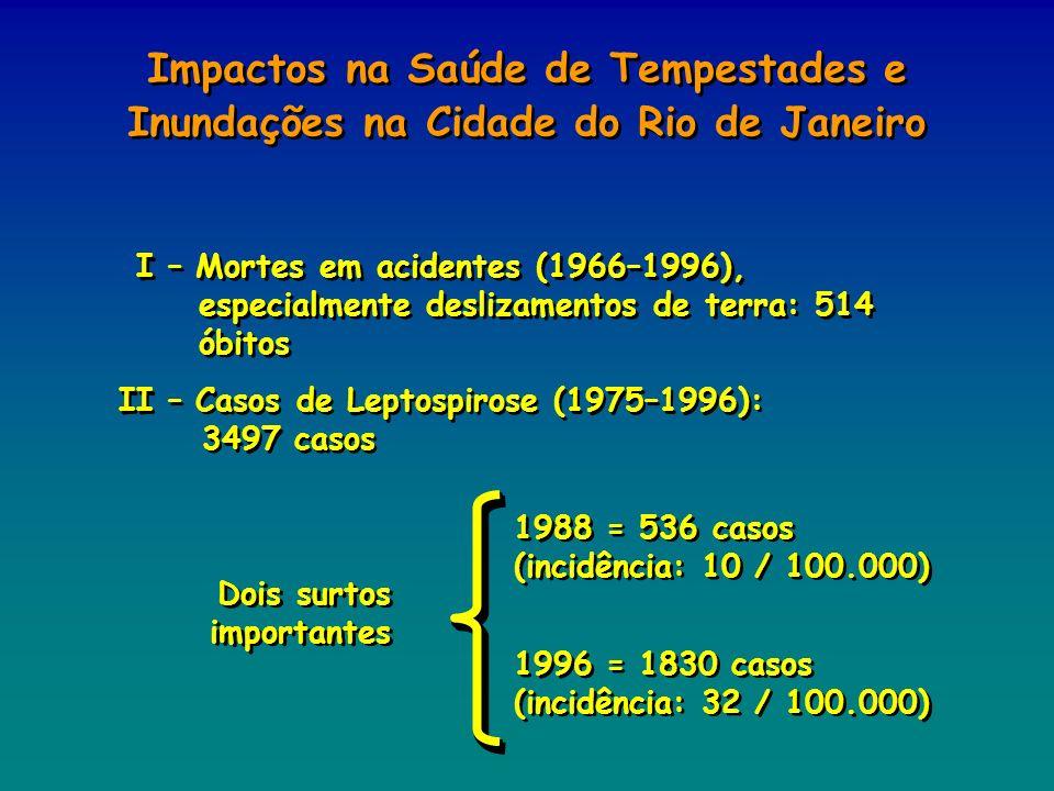 I – Mortes em acidentes (1966–1996), especialmente deslizamentos de terra: 514 óbitos II – Casos de Leptospirose (1975–1996): 3497 casos Dois surtos i