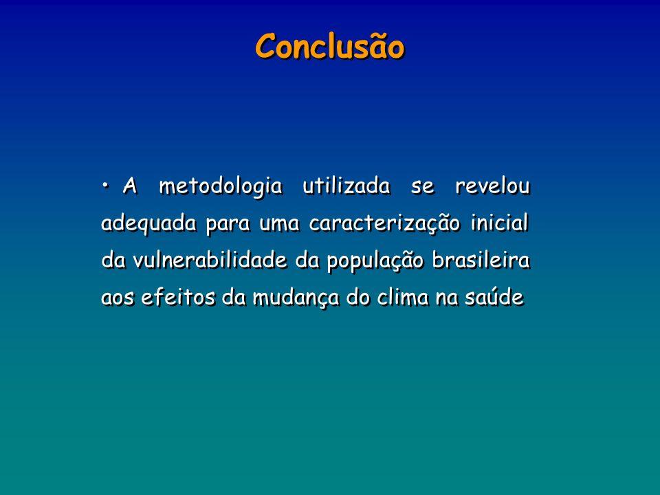 Conclusão A metodologia utilizada se revelou adequada para uma caracterização inicial da vulnerabilidade da população brasileira aos efeitos da mudanç