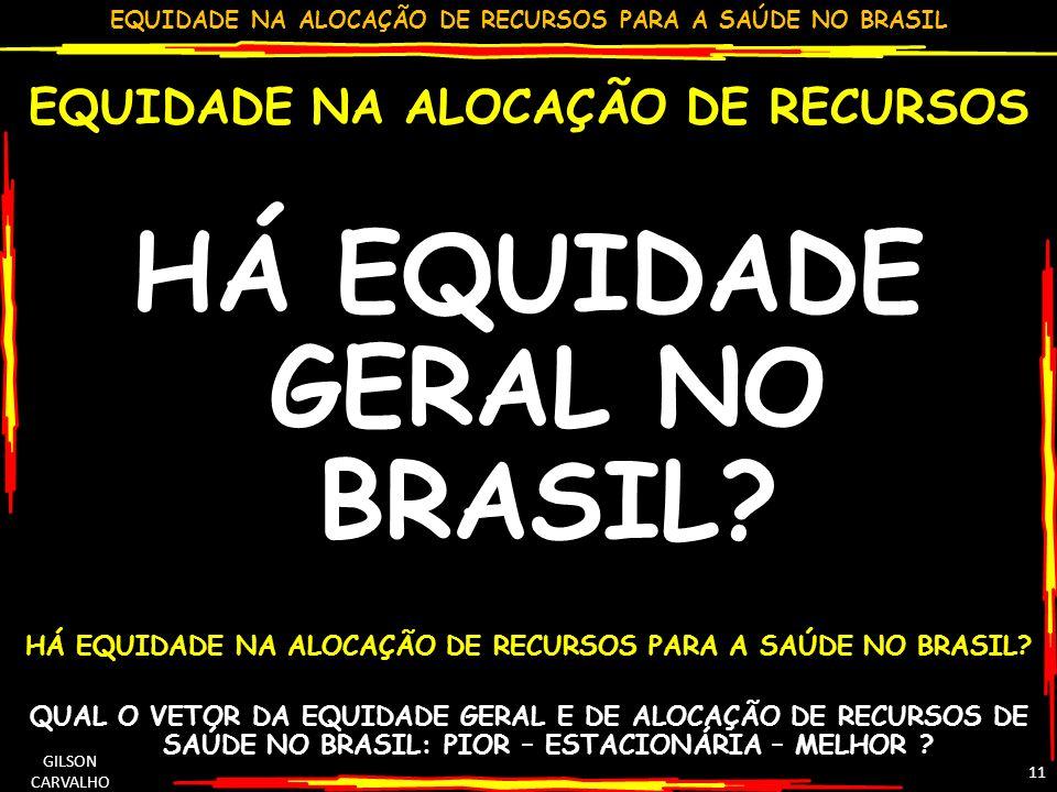 EQUIDADE NA ALOCAÇÃO DE RECURSOS PARA A SAÚDE NO BRASIL GILSON CARVALHO 11 EQUIDADE NA ALOCAÇÃO DE RECURSOS HÁ EQUIDADE GERAL NO BRASIL? HÁ EQUIDADE N