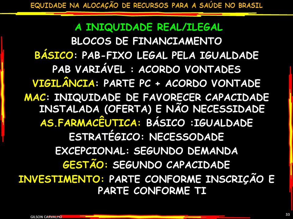 EQUIDADE NA ALOCAÇÃO DE RECURSOS PARA A SAÚDE NO BRASIL GILSON CARVALHO 33 A INIQUIDADE REAL/ILEGAL BLOCOS DE FINANCIAMENTO BÁSICO: PAB-FIXO LEGAL PEL