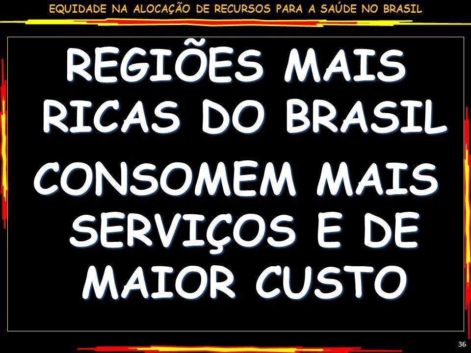 EQUIDADE NA ALOCAÇÃO DE RECURSOS PARA A SAÚDE NO BRASIL 36 REGIÕES MAIS RICAS DO BRASIL CONSOMEM MAIS SERVIÇOS E DE MAIOR CUSTO