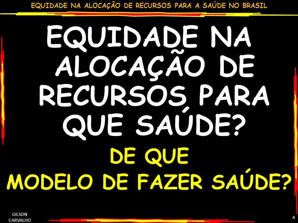 EQUIDADE NA ALOCAÇÃO DE RECURSOS PARA A SAÚDE NO BRASIL GILSON CARVALHO 35
