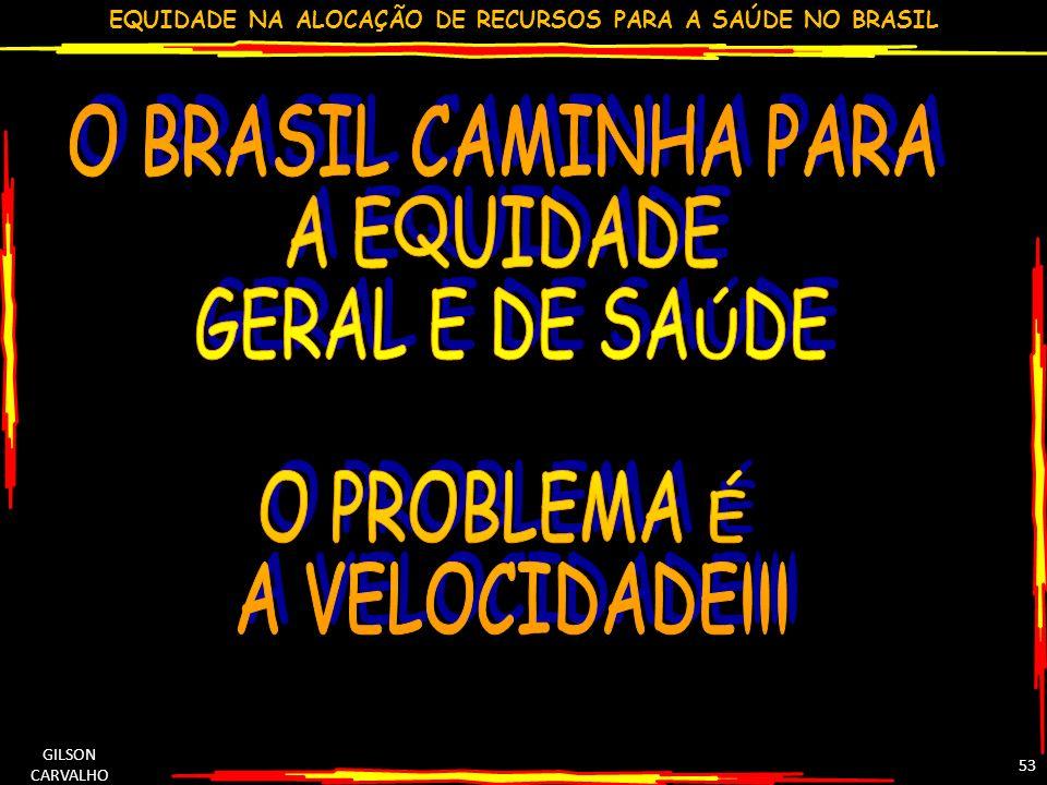 EQUIDADE NA ALOCAÇÃO DE RECURSOS PARA A SAÚDE NO BRASIL GILSON CARVALHO 53